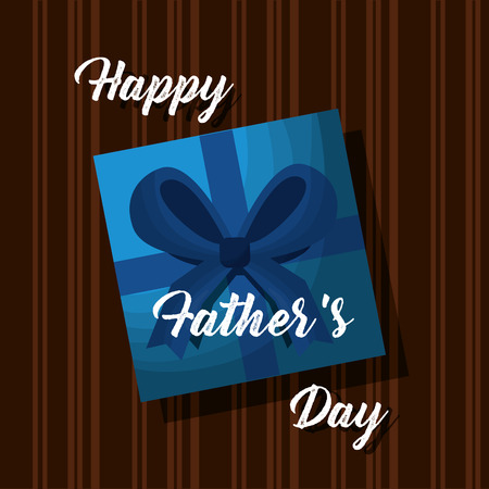 Illustration pour happy fathers day card gift box on wooden top view vector illustration - image libre de droit