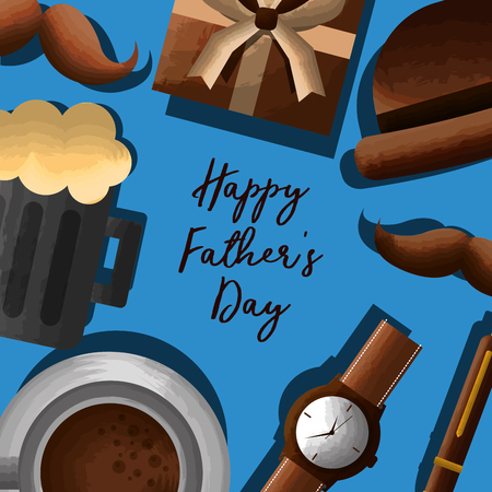 Illustrazione per happy fathers day lettering hand - beer, gift, mustache, watch, coffee vector illustration - Immagini Royalty Free
