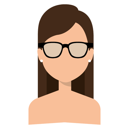 Illustrazione per Faceless and shirtless woman with glasses - Immagini Royalty Free