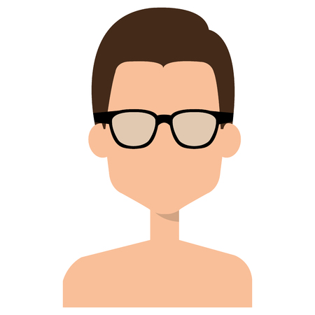 Illustrazione per Faceless and shirtless man with glasses - Immagini Royalty Free