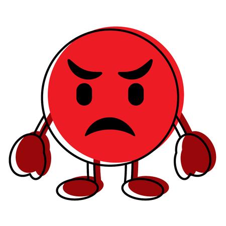 Ilustración de Red emoticon cartoon face angry character vector illustration. - Imagen libre de derechos
