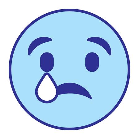 Ilustración de cute smile emoticon sad tear vector illustration blue design image - Imagen libre de derechos