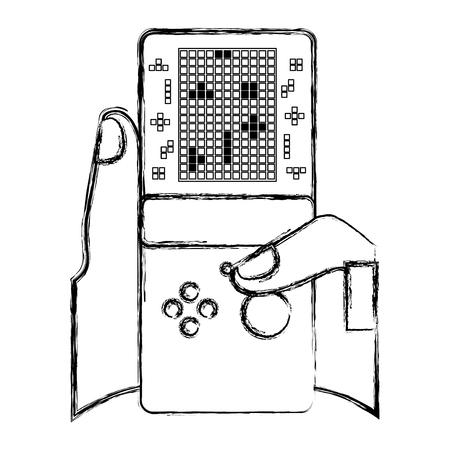 Illustration pour gamer hand holding console with tetris game on screen vector illustration sketch design - image libre de droit