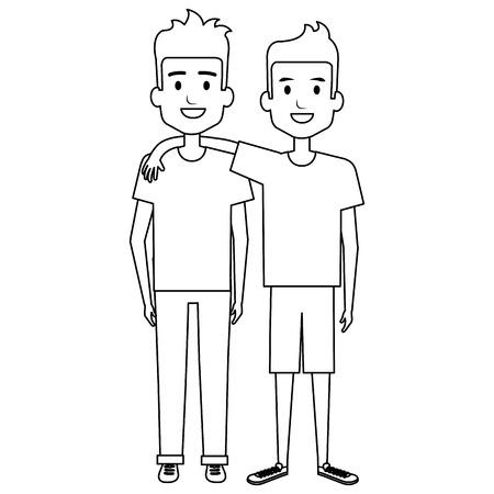 Ilustración de Male friends avatar vector illustration design - Imagen libre de derechos