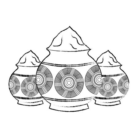 Ilustración de Three powder color mud pot and mandala vector illustration sketch style design. - Imagen libre de derechos