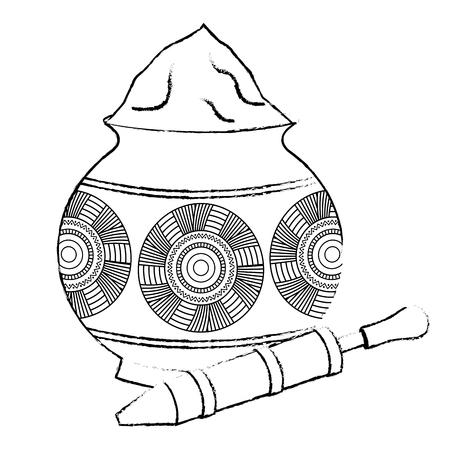 Ilustración de Powder color mud pot and for celebration vector illustration sketch style design. - Imagen libre de derechos