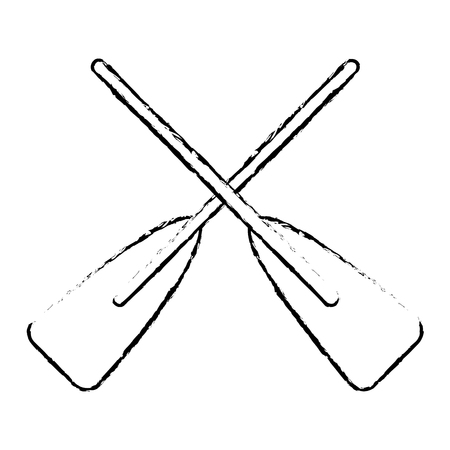 Ilustración de Two wooden crossed boat oars sport vector illustration sketch style design. - Imagen libre de derechos