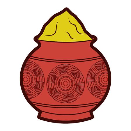 Ilustración de Powder mud pot and mandala vector illustration - Imagen libre de derechos
