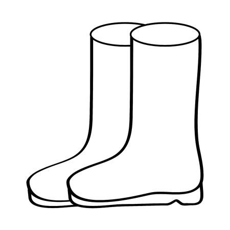 Ilustración de pair rubber boots clothes winter season fashion vector illustration outline design - Imagen libre de derechos