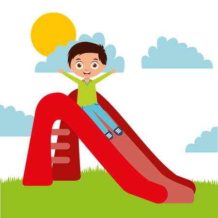 Illustration pour cute happy boy playing slider enjoying vector illustration - image libre de droit