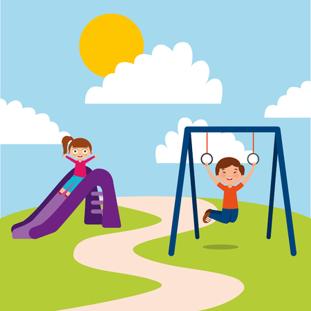 Illustration for Cute happy little kids playing slide jump rope playground vector illustration - Royalty Free Image
