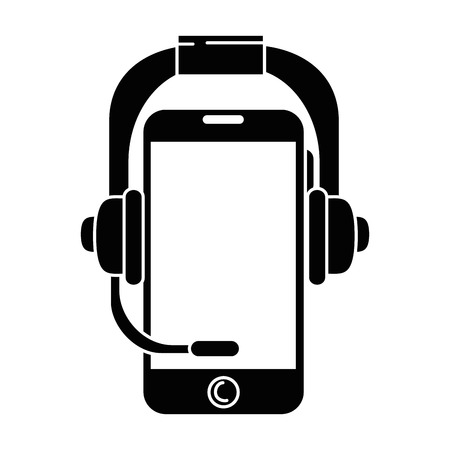 Illustration pour Smartphone device with headset vector illustration design - image libre de droit