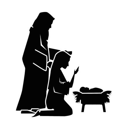 Illustration pour A holy family silhouette Christmas characters vector illustration design - image libre de droit