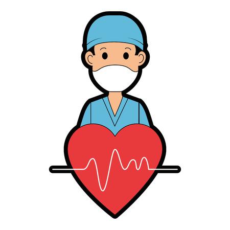 Illustration pour surgeon doctor with heart avatar character icon vector illustration design - image libre de droit