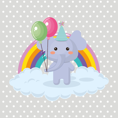 Illustration pour Cute elephant with balloons air party sweet kawaii birthday card vector illustration design - image libre de droit
