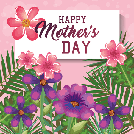 Illustration for Happy mothers day card with floral decoration vector illustration design - Royalty Free Image