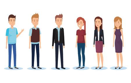 Ilustración de Group of young people poses and styles vector illustration design - Imagen libre de derechos