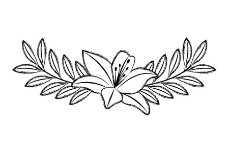 Illustration for Cute flower lily and branch with leaves foliage decoration vector illustration sketch image - Royalty Free Image