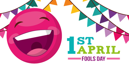 Illustration pour banner with emoticon happy garland decoration - april fools day vector illustration - image libre de droit