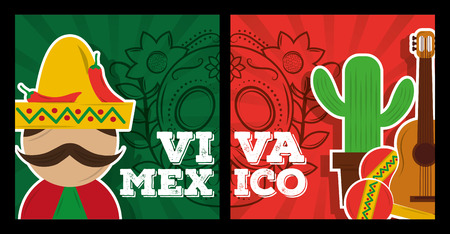 Illustration for viva mexico banner decoration celebration vector illustration - Royalty Free Image