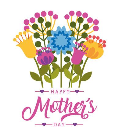 Ilustración de decorative flowers foliage natural- happy mothers day card vector illustration - Imagen libre de derechos