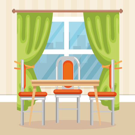 Illustration pour elegant dinning room scene vector illustration design - image libre de droit
