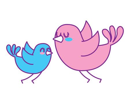 Ilustración de beautiful flying birds lovely animal vector illustration pink and blue design - Imagen libre de derechos