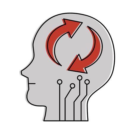 Ilustración de Human head's profile with arrows reload vector illustration design - Imagen libre de derechos