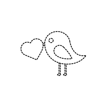 Ilustración de Bird with heart cartoon icon image vector illustration design black dotted line - Imagen libre de derechos