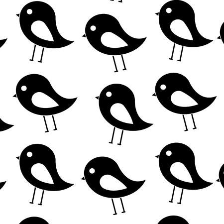 Ilustración de bird cartoon pattern image vector illustration design  black and white - Imagen libre de derechos