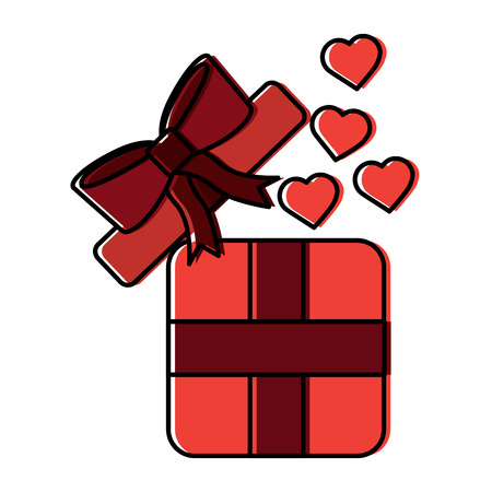 Illustration pour gift box with hearts valentines day related icon image vector illustration design - image libre de droit