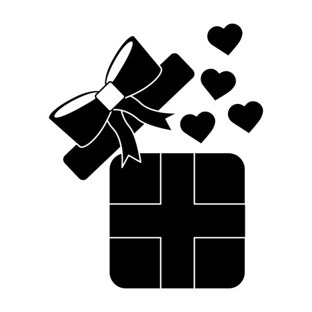 Illustration pour Gift box with hearts valentines day related icon image vector illustration design black and white - image libre de droit