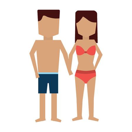 Illustration pour woman and man in bathing suits icon image vector illustration design - image libre de droit