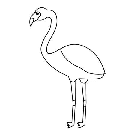 Ilustración de Flamingo bird tropical icon image vector illustration design single black line - Imagen libre de derechos