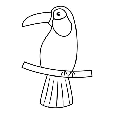 Ilustración de Toucan bird tropical icon image vector illustration design single black line - Imagen libre de derechos