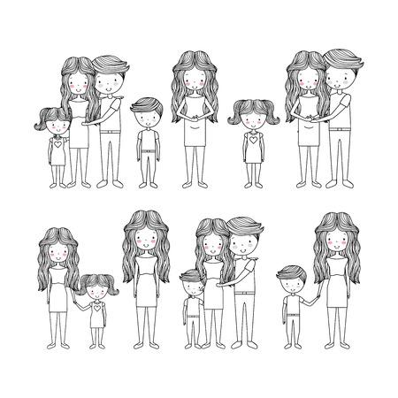 Ilustración de cute types of family hand drawn image vector illustration design - Imagen libre de derechos