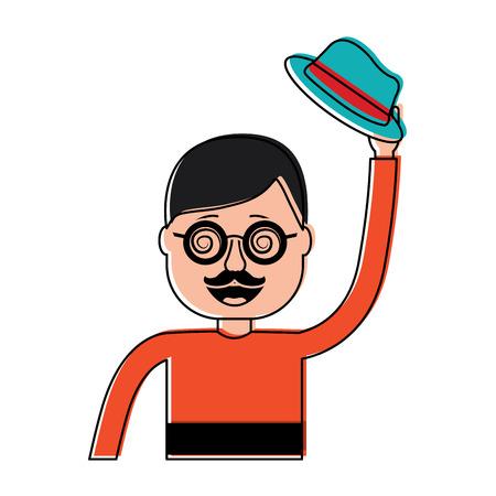 Illustration pour happy man hat and crazy glasses portrait vector illustration - image libre de droit