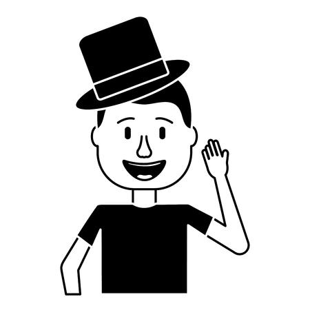 Illustration pour happy man hat comic portrait vector illustration black and white design - image libre de droit