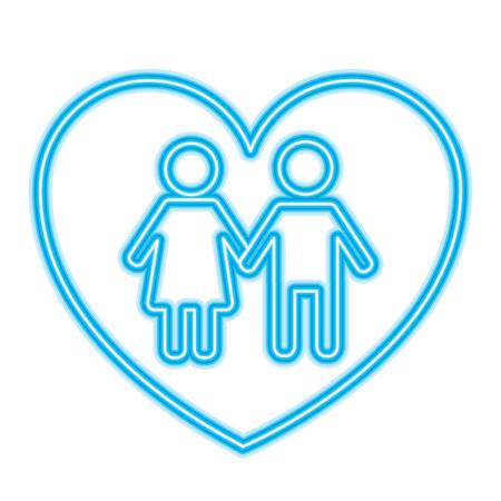 Ilustración de couple holds hand inside heart medical concept vector illustration neon blue design - Imagen libre de derechos