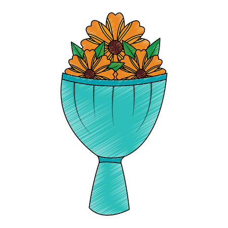 Illustration for bouquet flower decoration ornament romantic vector illustration - Royalty Free Image