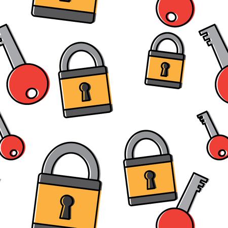 Illustration pour technology padlock key security pattern image vector illustration - image libre de droit