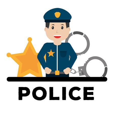 Ilustración de police man officer and equipment work poster vector illustration - Imagen libre de derechos