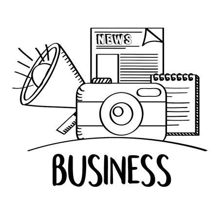 Illustration for business phoro camera speaker news doodle vector illustration - Royalty Free Image