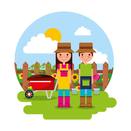 Illustration for happy gardener couple with wheelbarrow potted flowers gardening theme vector - Royalty Free Image