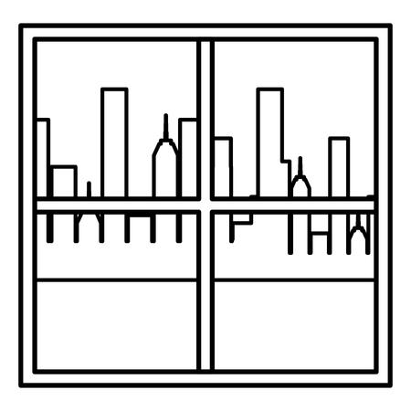 Illustration pour window apartment with cityscape background vector illustration design - image libre de droit