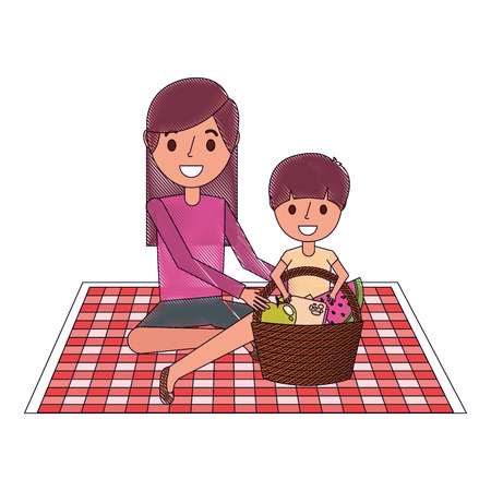 Illustrazione per mom with her son sitting on blanket with food basket vector illustration - Immagini Royalty Free