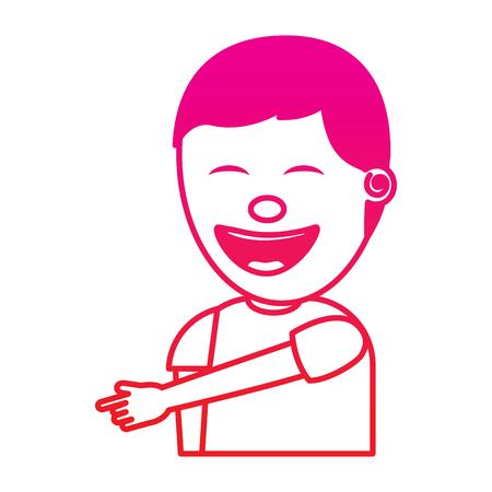 Illustration pour young man smiling pointing gesture vector illustration gradient color image - image libre de droit