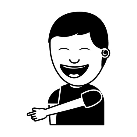Illustration pour young man smiling pointing gesture vector illustration black and white image - image libre de droit