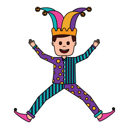 Illustration for joker jumping surprise fools day character happy vector illustration - Royalty Free Image