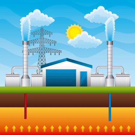Ilustración de Geothermal power plant generator and storage underground - renewable energy vector illustration - Imagen libre de derechos